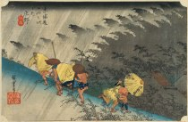 Hiroshige-les-53-relais-du-Tokaido-45e-Shono-l-averse