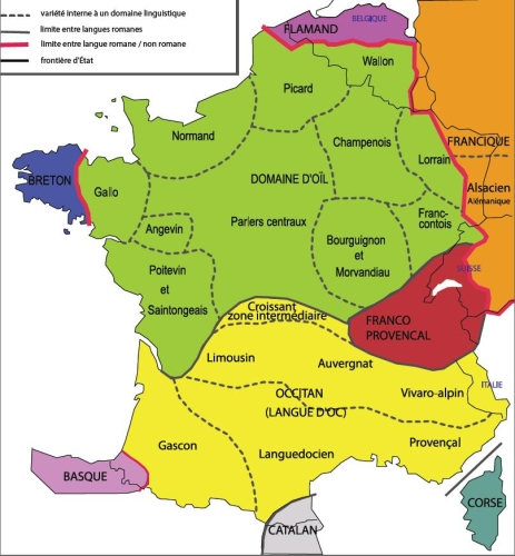 Langues et dialectes for B b carte france