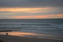 Bidart, coucher de soleil sur la plage d'Erretegia